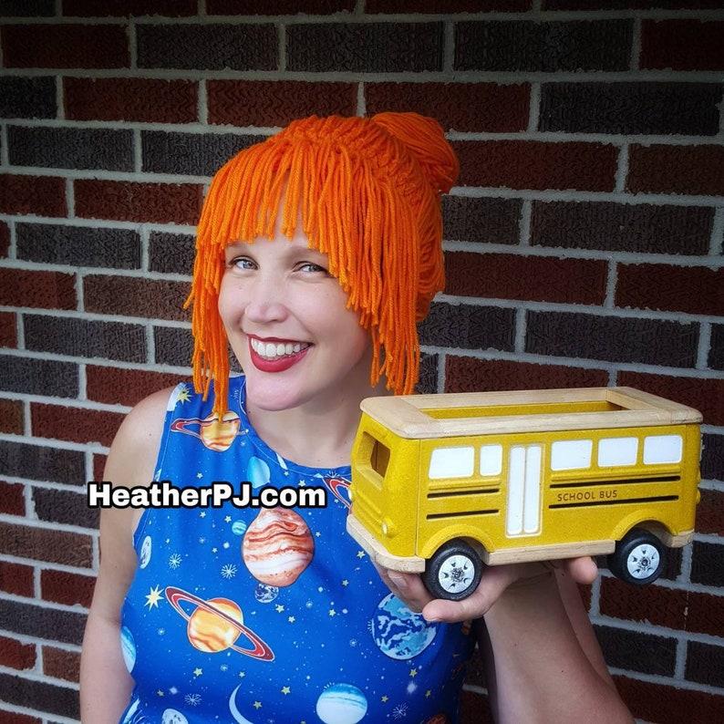 The Frizzle Secret Agent Any Size Crocheted Orange Yarn Wig image 0