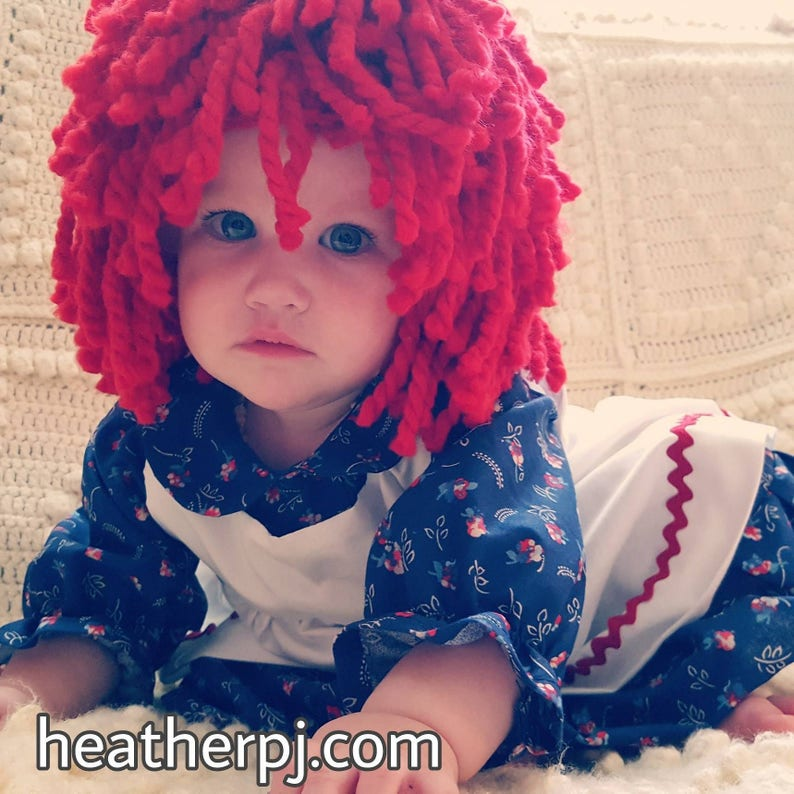 Any Size Wig or Rag Doll Dress Crocheted Red Yarn Wig Handmade image 0