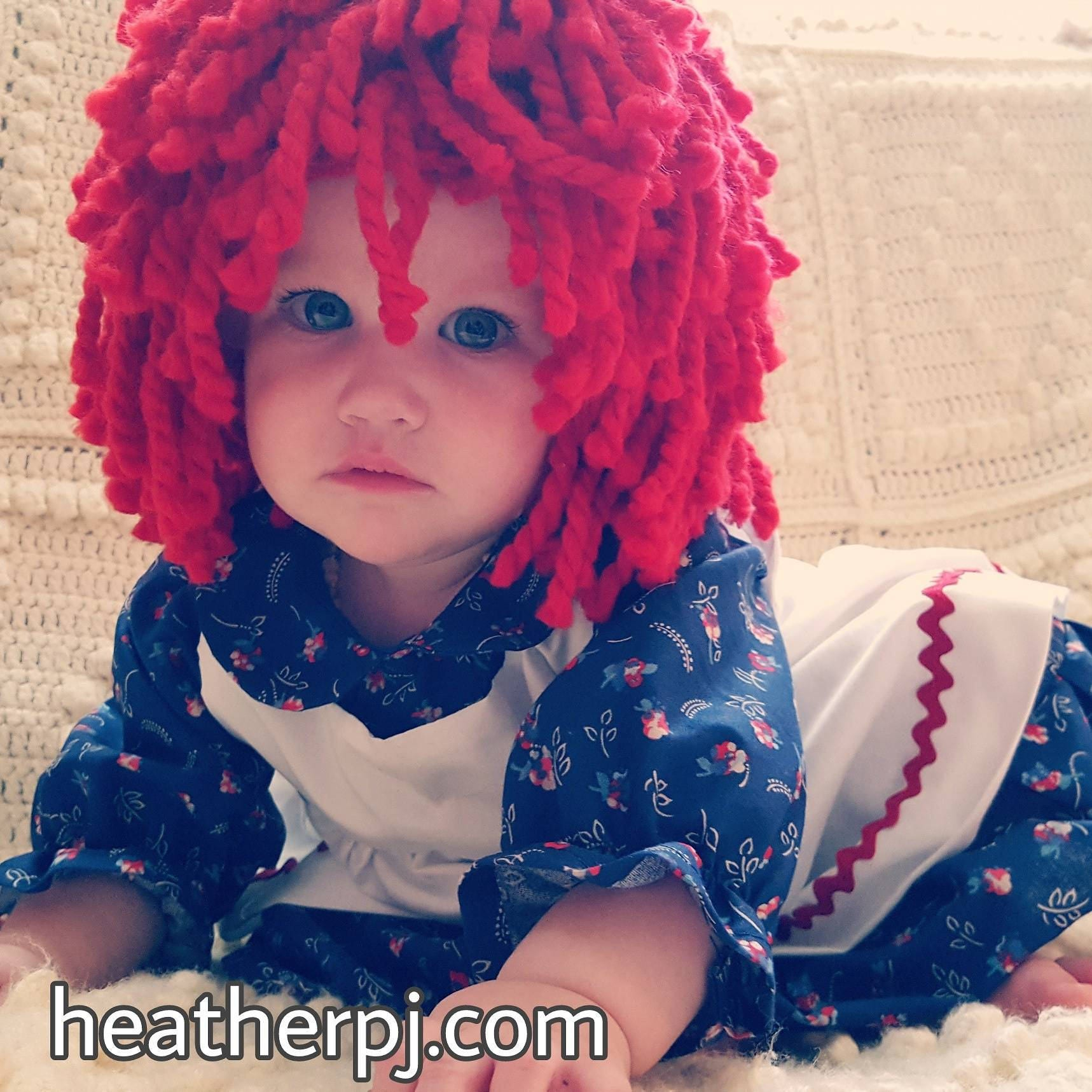 Ready to mail Any size Wig Crocheted Red Yarn Wig Handmade  2bfa349c5cce