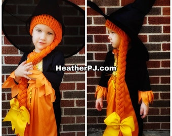 All sizes- Long Orange Braided Yarn Crocheted Yarn Wig. Ships from Florida USA via USPS Priority Mail