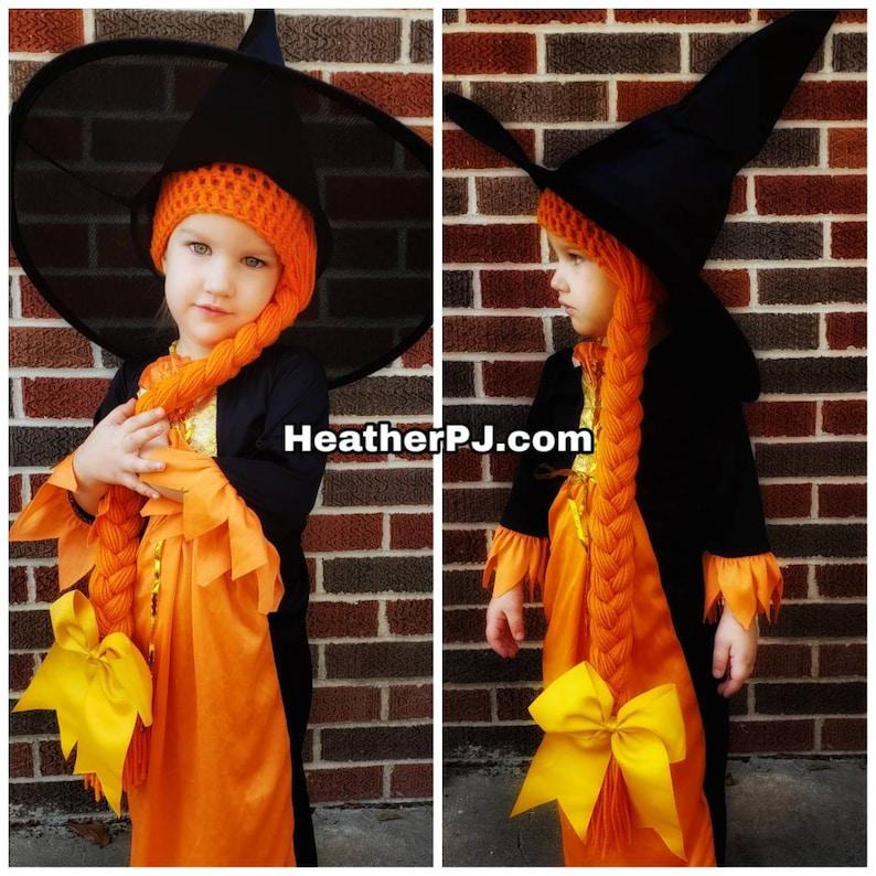 Any Size Long Braided Orange Yarn Wig Handmade Witch Wig image 0