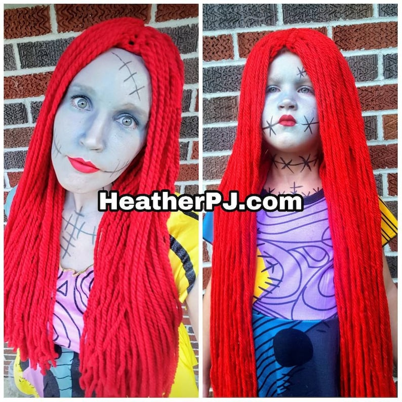 Any Size Long Straight Red Yarn Wig with Middle Part Handmade image 0