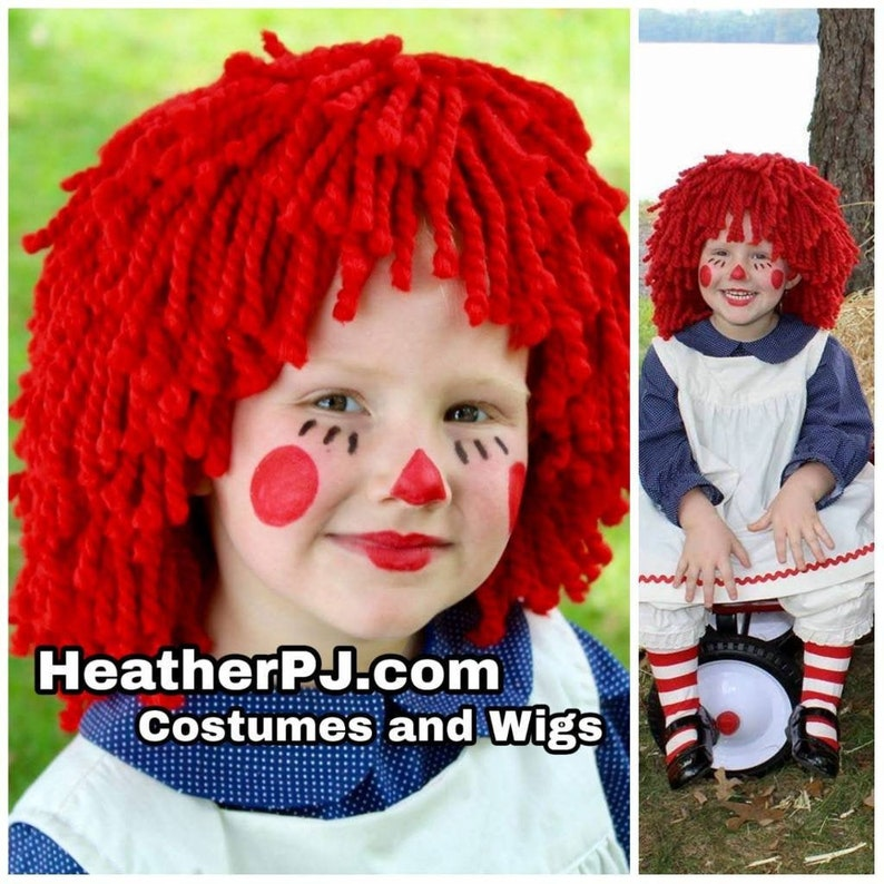 Any Size Wig or Rag Doll Dress Crocheted Red Yarn Wig Handmade Youth Wig