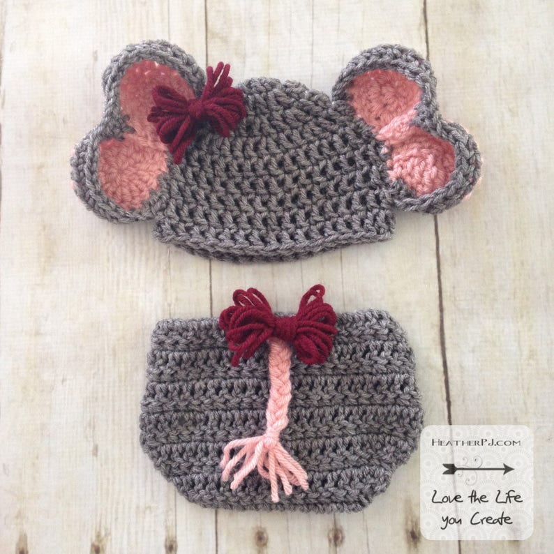 PATTERN Elephant Hat and Diaper Cover with Tail for 6 Months. image 0