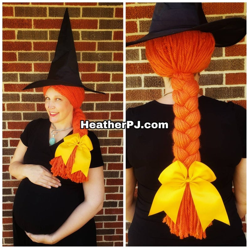 Any Size Long Braided Orange Yarn Wig Handmade with Fat image 0
