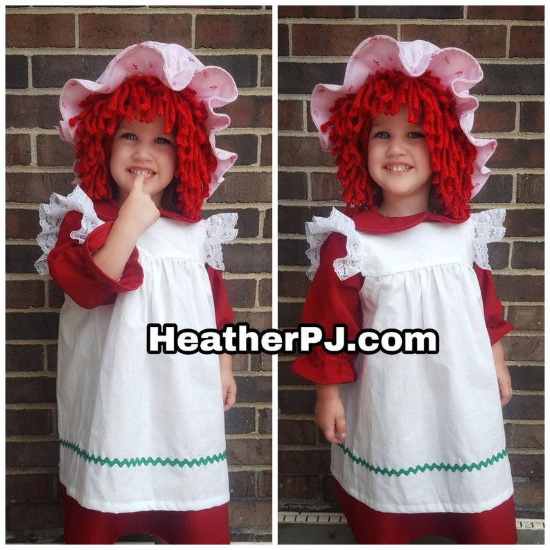 Any Size Wig or Strawberry Rag Doll Dress Crocheted Red Yarn image 0