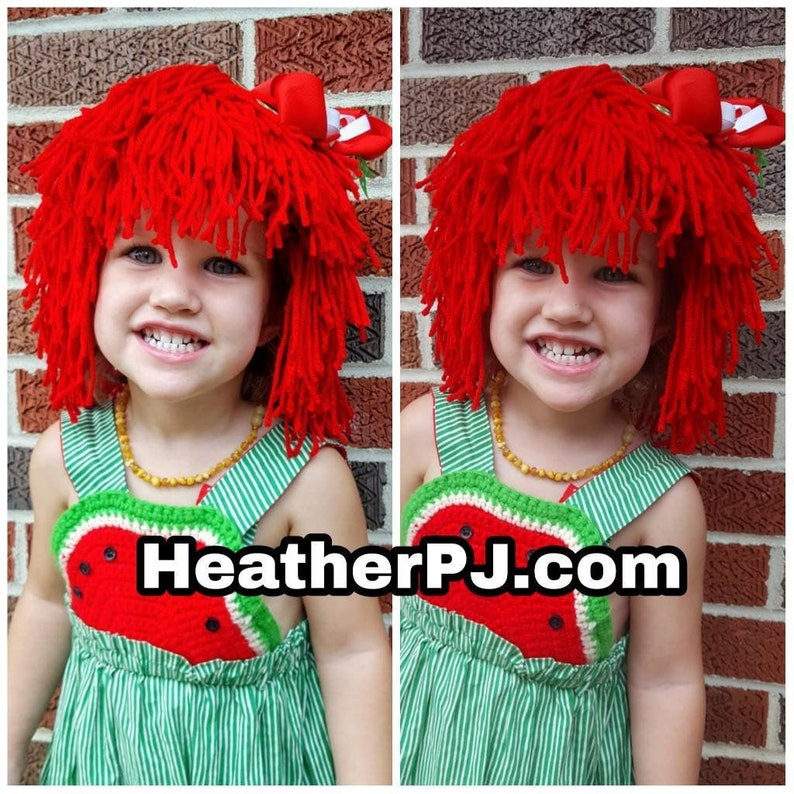 Rag Doll Wig DIY Kit in Orange and Red for Raggedy Ann Raggedy image 0