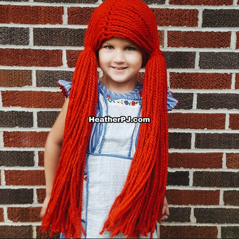 Any size Wig Crocheted Red Yarn Wig Handmade with Fat Quality image 0