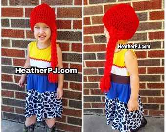 Any Size Long Braided Red Yarn Wig Handmade with Fat Quality Red Yarn, Cowgirl Costume Wig