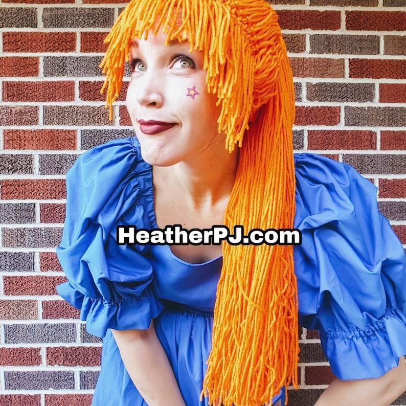 Orange Pony Tail Any Size Crocheted Orange Yarn Wig Handmade image 0