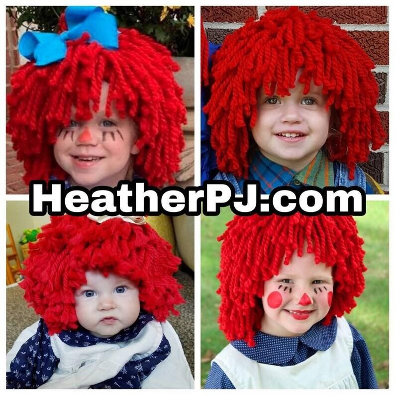 Any Size Wig or Rag Doll Dress Crocheted Red Yarn Wig Handmade image 0