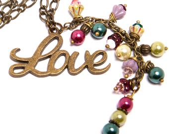 Love Vintage Style Necklace with Czech Glass and Swarovski Crystal and Pearl Accents