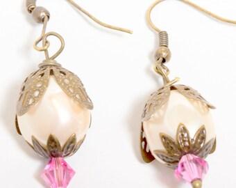 Antiqued Bronze Earrings with Vintage Pearls and Swarovski Crystals,Pearl Earrings, Pink Crystal Earrings, Vintage Style Earrings