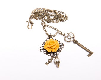 Rose Necklace in Goldenrod with Antiqued Bronze, Crystal, and Pearl Accents