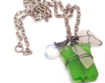 OOAK Sea Glass, Opalescent Faceted Teardrop and Oxidized Sterling Silver Wire Wrapped Necklace