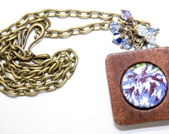 Blue  MeadowFabric Button Necklace in Wood Frame with Swarovski Crystal and Antique Bronze Accents