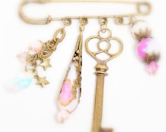 Pink Dreamer Brooch, Antiqued Bronze Pin, Moon and Stars Brooch, Jasper Crystals and Pearls Brooch,