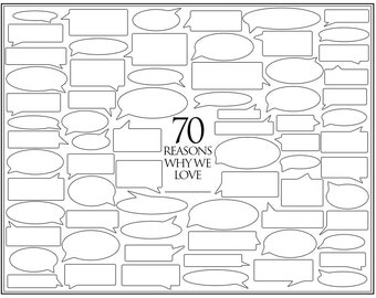 Personalized Birthday Present – 70 Reasons We Love You – Template for Print or Editing – Photoshop Template – 70th Birthday