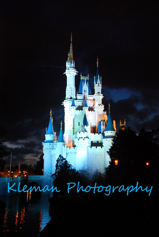 Disney World Magic Kingdom Cinderella Castle At Night Etsy