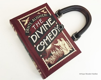 65cd9a0a26 Dante Book Purse - Purgatory Book Clutch - Divine Comedy Book Cover Handbag  - Classical Education Literary Gift - Shoulder Length Bag