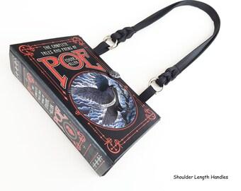 Edgar Allan Poe Recycled Book Purse - The Raven Book Cover Handbag - Poe Book Clutch - Macabre Gift - Horror Book Bag - Poe Shoulder Bag