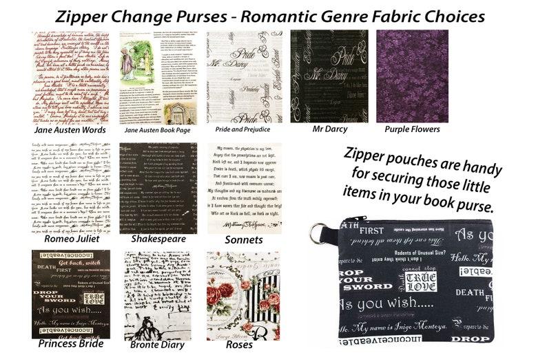 Zipper Change Purse Jane Austen Zipper Coin Purse Shakespeare Change Purse Girlfriend Gift Princess Bride Mini Pouch Makeup Bag