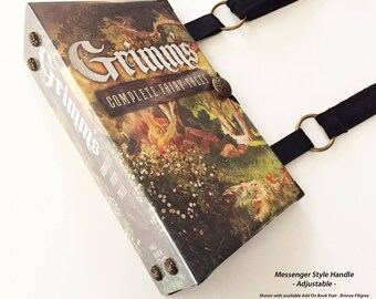 Grimms Complete Fairy Tales Book Purse - Your Choice of Purse Handle - Fairy Tales Pocket Book Handbag - Bookish Accessory