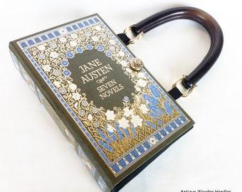 Jane Austen Leatherbound Book Purse - Jane Austen Follower Gift - Book Cover Purse - Jane Austen Bookish Accessory - Jane Austen Handbag
