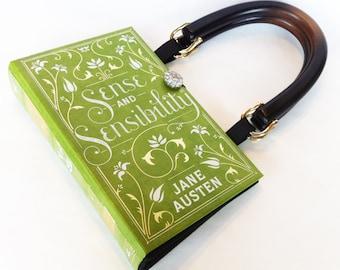 Sense and Sensibility Book Purse - Jane Austen Book Purse - Springtime Book Clutch - Bookish Theme Book Cover Handbag