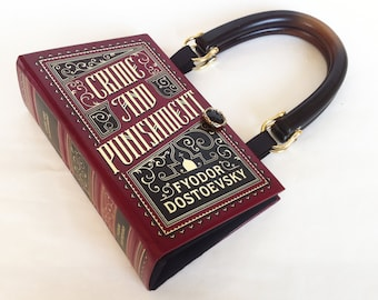 Crime and Punishment Book Purse or Book Purse Clutch - Leather bound Recycled Book - Literary Gift