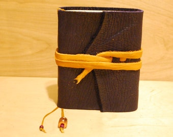"""Indigo Buffalo Leather Journal with heavy paper  6 x 5 """" with tie & bookmark"""