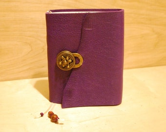 Purple Leather Journal - with latch and bookmark  long stitch bind - for dreams, travel stories and sketching