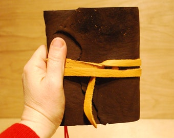 """Brown Buffalo Leather Journal with heavy paper  6 x 5 """" with tie & bookmark"""