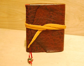 """Textured bison leather  6 x 5 """" with tie & bookmark great for dreams, travel stories and sketching"""