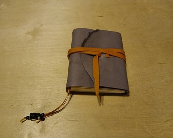 """Gray leather  6 x 5 """" with tie & bookmark great for dreams, travel stories and sketching (small, pocket sized)"""