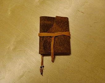 """Textured bison leather  6 x 5 """" with tie & bookmark great for dreams, travel stories and sketching (small, pocket sized)"""