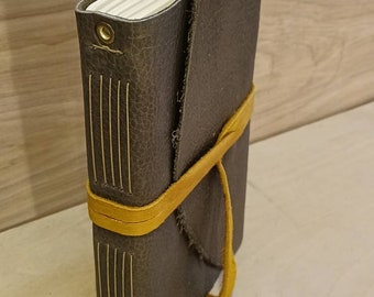 """9 x 6"""" Olive leather book with tie - great for dreams, travel stories and sketching"""