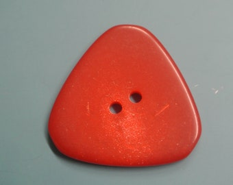 Lot of 6 small vintage 1980s unused triangular strong orange plastic buttons for your sewing decoration prodjects