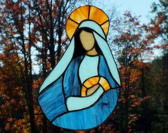 Madonna and Child Stained Glass - Lead Free