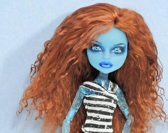 Monster Doll Wig High Fashion Custom Mohair Tibetan Lamb Size 5  ooak  Dark Auburn