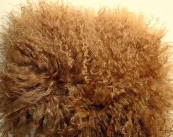 Dirty Blond Tibetan Lamb Doll Hair 4x4 Mongolian Mohair Curly for Wigs Blonde