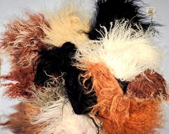 Tibetan Lamb Mohair Doll Hair Remnant Mixed 6 oz Black Brown White Gray Beige Assortment