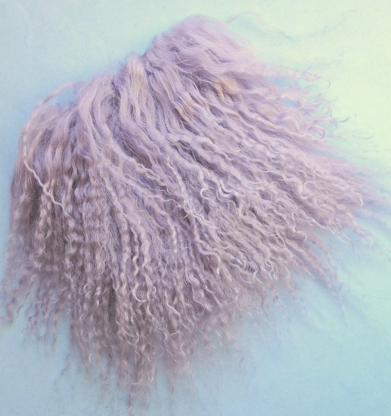 "Tibetan Lamb Lambskin Mongolian Fur 6 /"" x 6 /"" OOAK Doll Baby Hair Wig BJD Fairy"