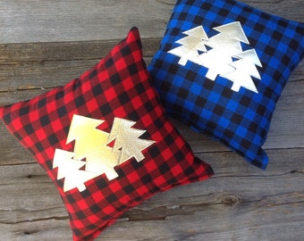 Decorative Pillow, Holiday Pillow, Christmas Decor, Tree Pillow, Throw Pillow, Gifts Under 30, Plaid Pillow, Lodge Decor, Rustic Decor,