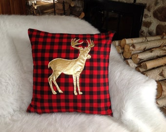 Deer Pillow Cover, Metallic Pillow Cover, Christmas Pillow Cover, Buffalo Plaid, Metallic Gold Decor, 16 X 16 Cover, Woodland Decor, Rustic