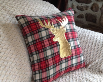 Decorative Pillow Cover, Christmas Pillow Cover, Holiday Pillow Cover, Deer Pillow, Woodland Decor, Nursery Decor, Plaid Pillow, Deer Decor