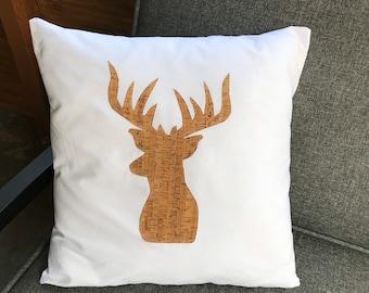 Deer Pillow Cover, Deer Decor, Farmhouse Decor, White Pillow, Throw Pillow, Beach Pillow Cover, Rustic Pillow, Christmas Pillow