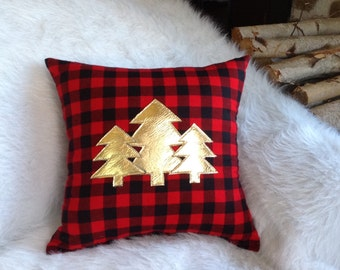 Christmas Pillow, Holiday Decor, Throw Pillows, Gifts Under 30, Gifts for Her, Gifts for Him, Woodland Pillow, Nursery Decor, Tree Decor