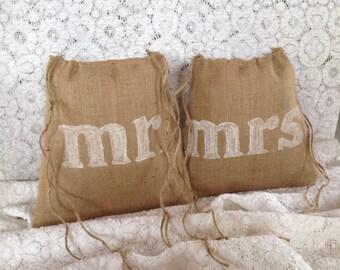 Mr and Mrs Dollar Dance Bags, Gift for Couple, Burlap Wedding, Drawstring Bag, Rustic Wedding, Wedding Dance, Bridal Shower Gift, Woodland