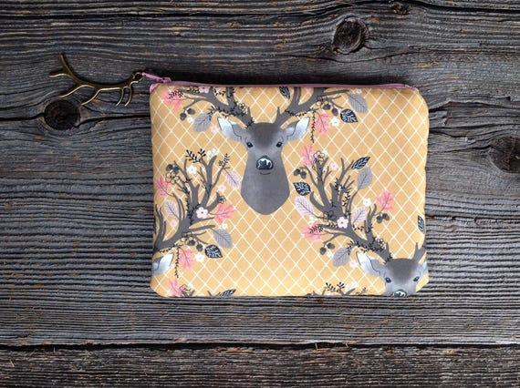 Zippered Pouch Deer Clutch Antler Bag Gifts For Her Under